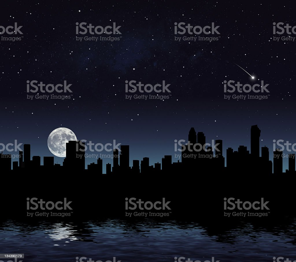 Blacked out cityscape stock photo