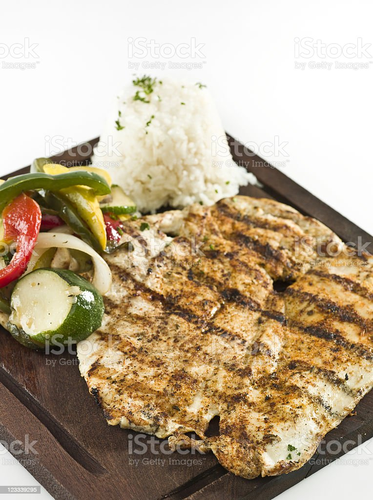blackened chicken breast with vegetables and rice royalty-free stock photo