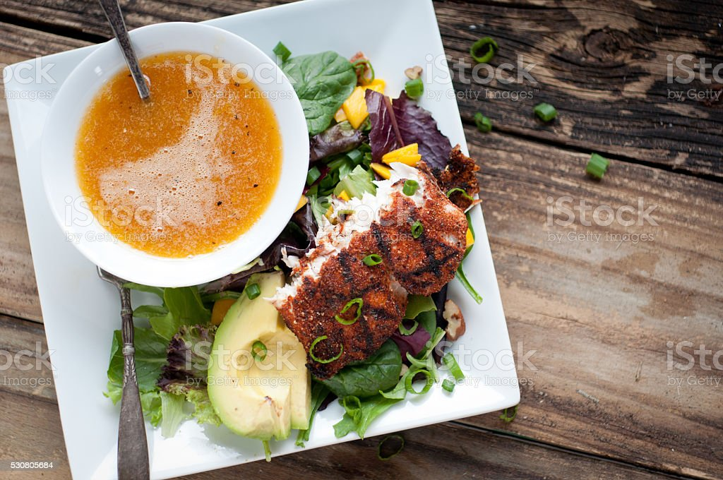 Blackened Mahi Summer Salad stock photo