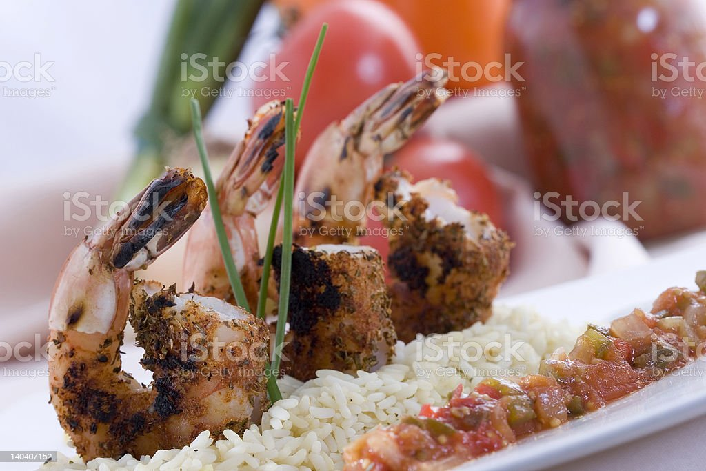 Blackened Shrimp with Tomato Salsa stock photo