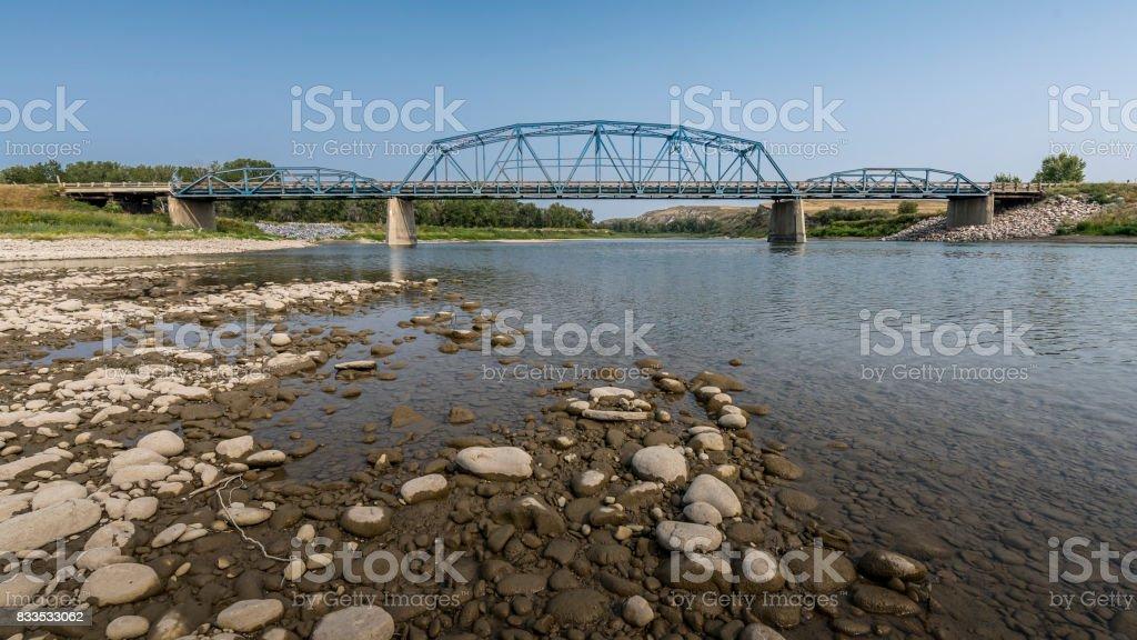 Blackfoot Crossing Bridge on Siksika Nation near Cluny stock photo