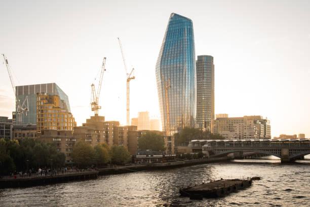 Blackfriars Bridge and Skyscraper by Sunset in London stock photo
