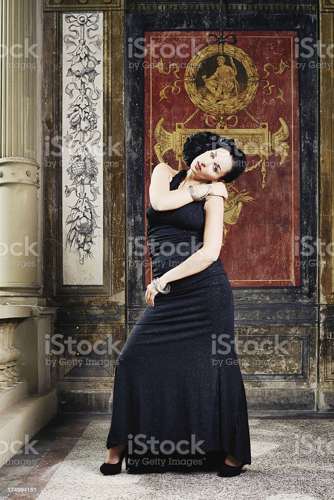 Black-haired Woman with Evening dress royalty-free stock photo