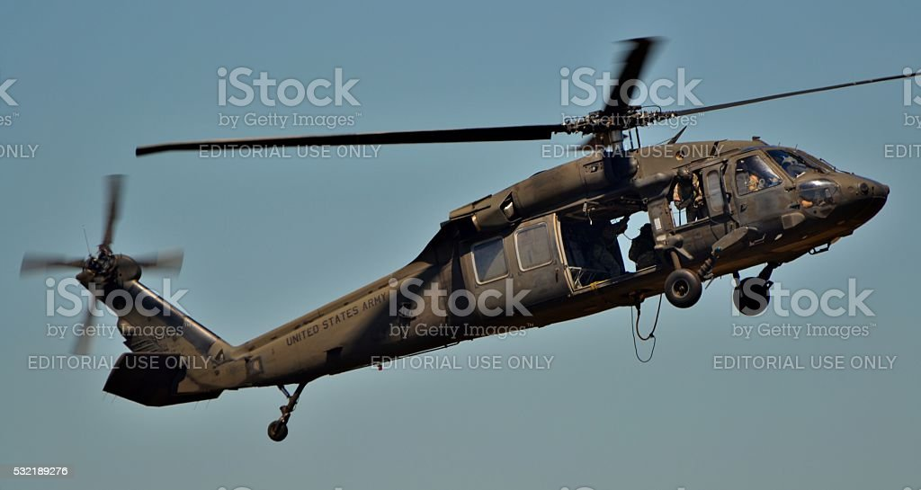 UH-60 Blackhawk Flying stock photo