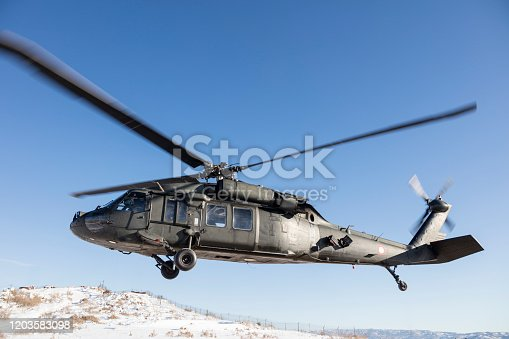 Blackhawk helicopter in flight