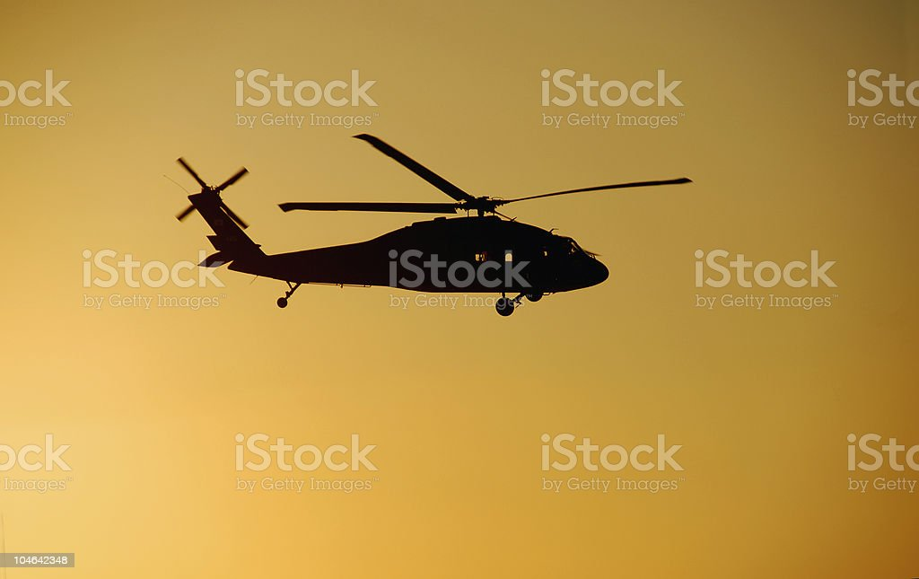 Blackhawk Helicopter Sunset stock photo