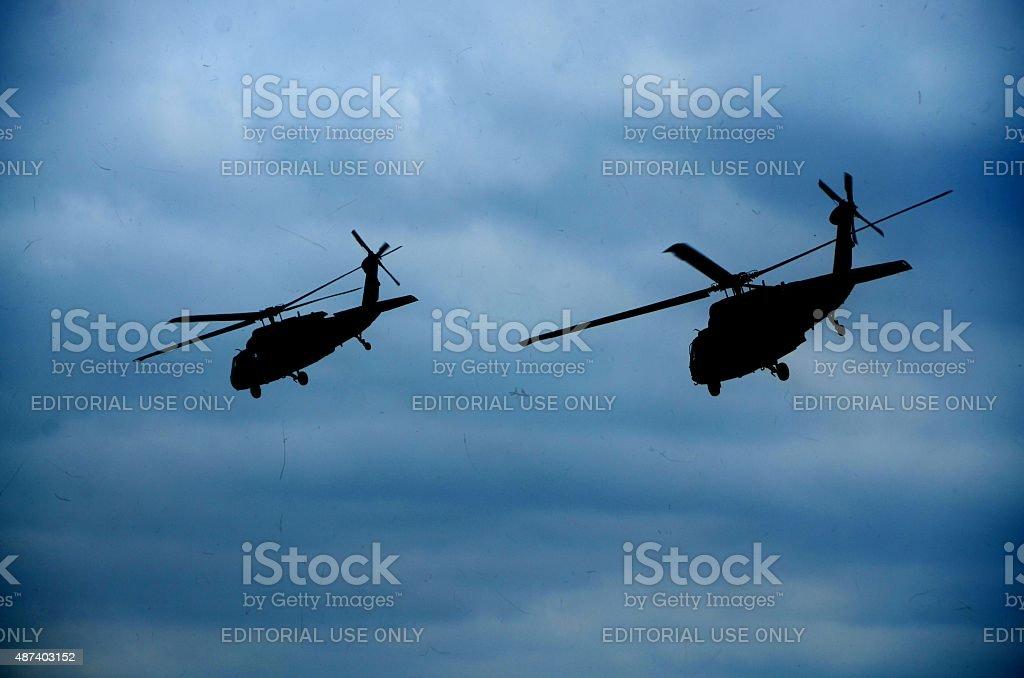 Blackhawk Helicopters flying stock photo