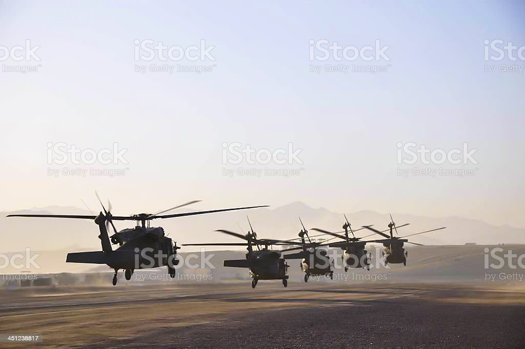 Blackhawk sortie taking off stock photo