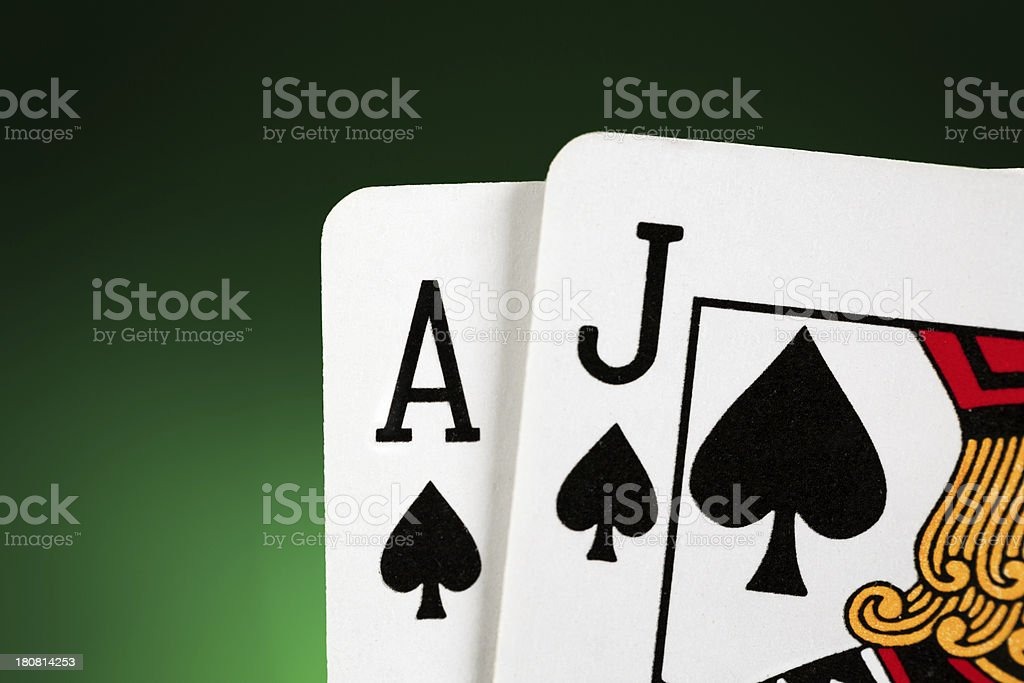 Blackjack Ace and Jack of Spades stock photo