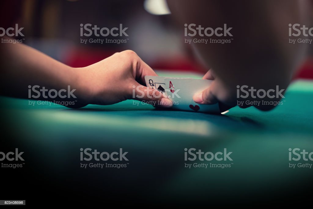 Blackjack cards combination of Ace and Queen - foto stock