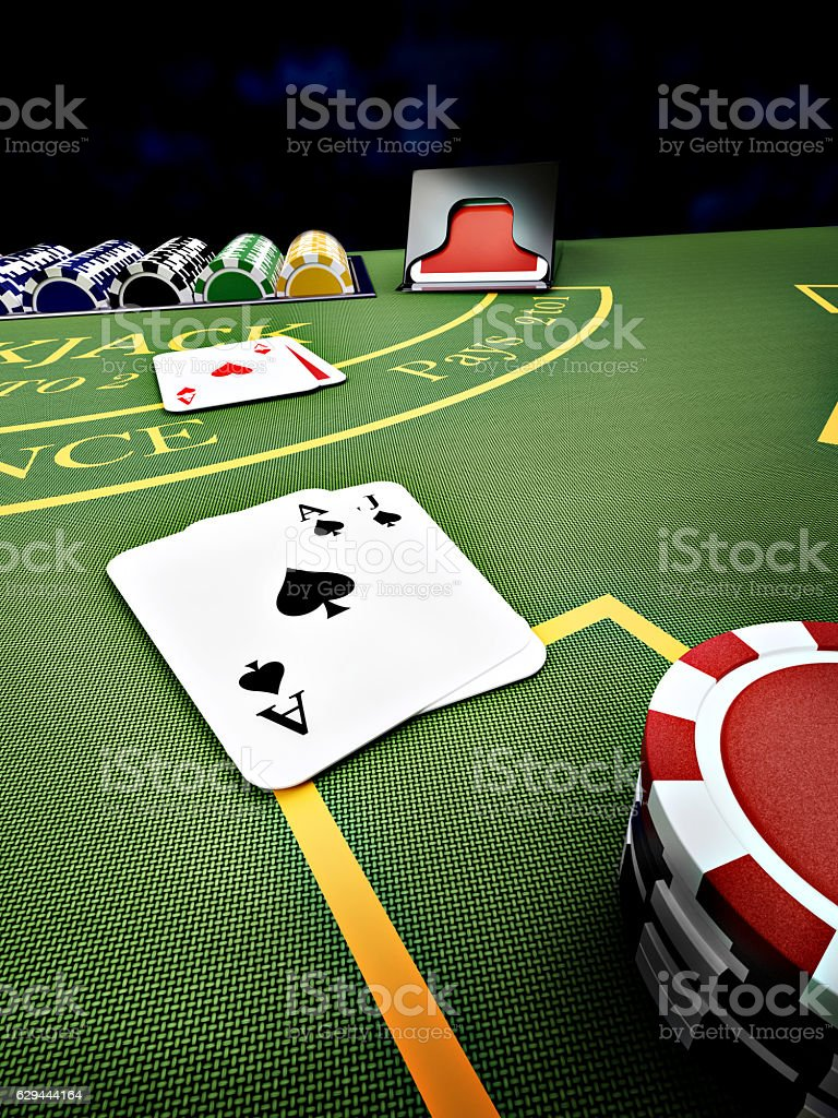 blackjack casino table stock photo