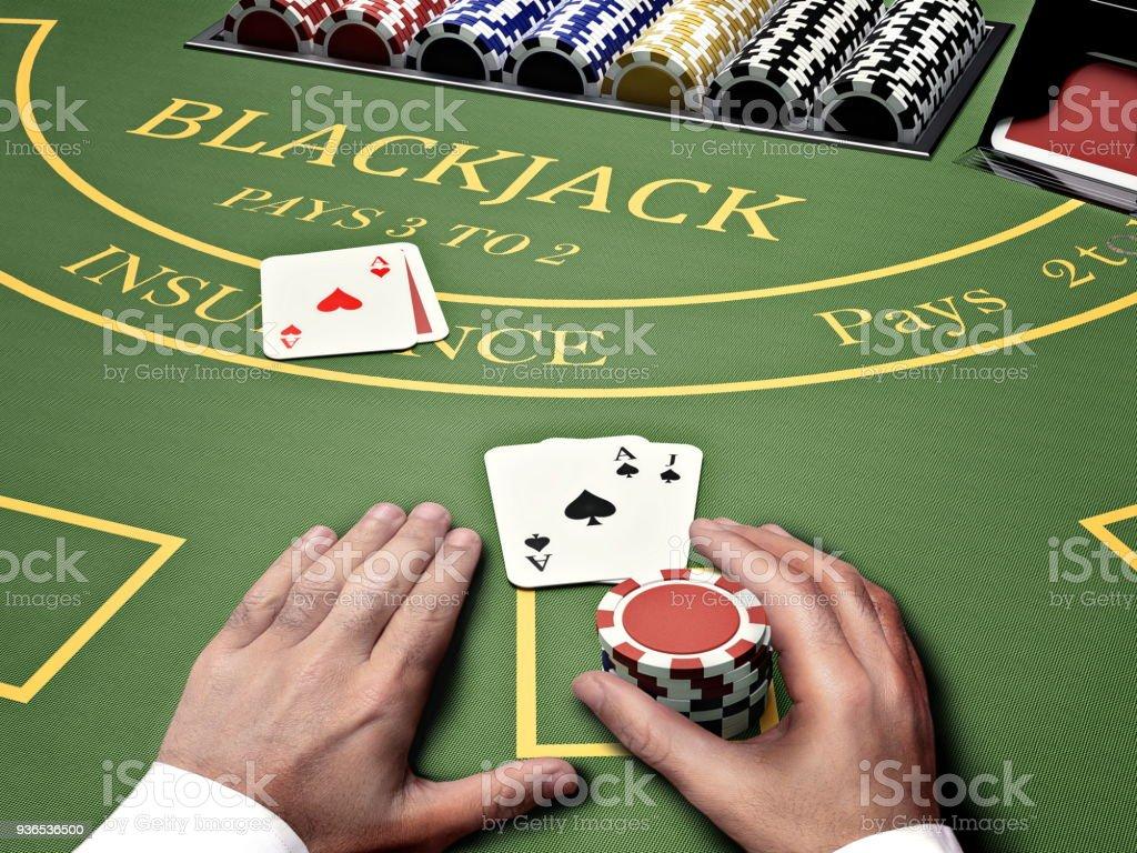 blackjack casino table - foto stock