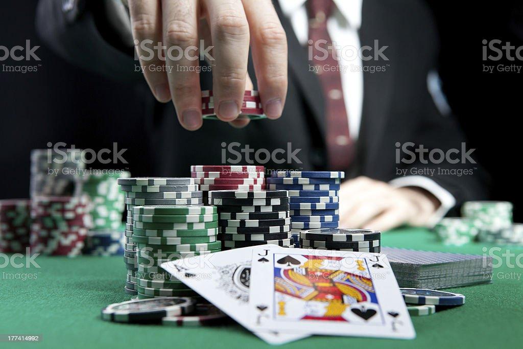blackjack in a casino stock photo