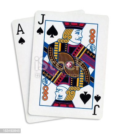 Blackjack with Ace and Jake of spades