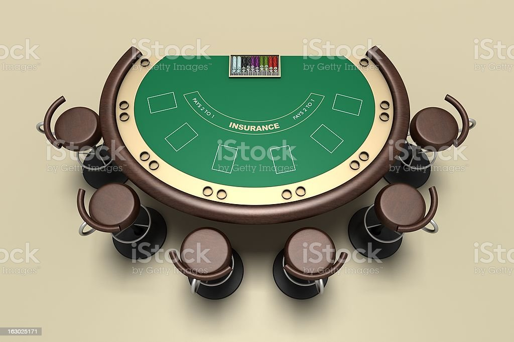 Blackjack Table - online casino interface stock photo