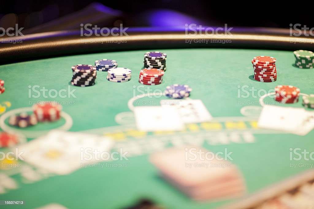 Blackjack table with game in progress royalty-free stock photo