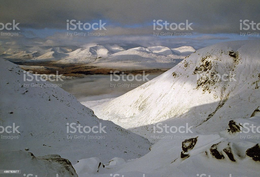 Blackmount Peaks and Loch Tulla from above Bridge of Orchy stock photo
