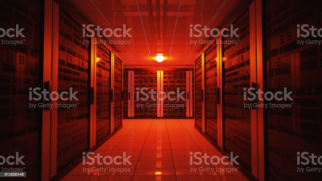 Blackout concept. Emergency failure red light in data center with servers. 3D rendered illustration. stock photo