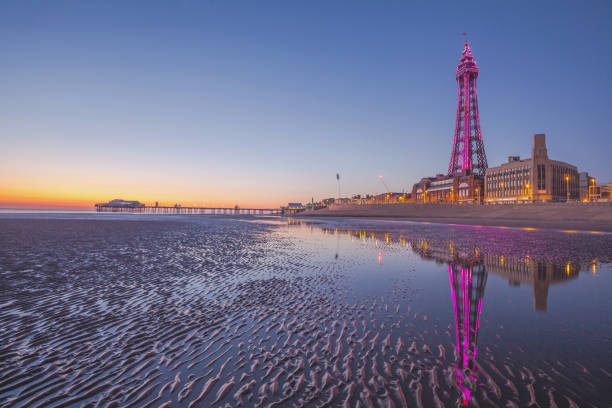 Blackpool and Blackpool Tower at Dusk. Summer 2019. stock photo
