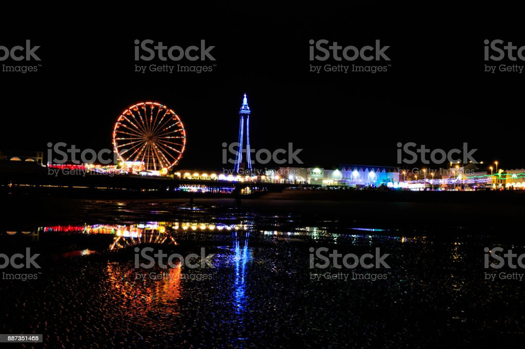 Blackpool at night stock photo