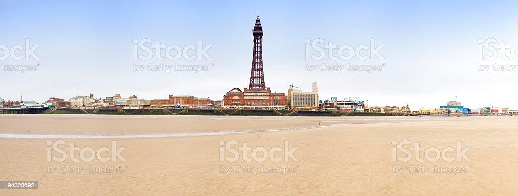 Blackpool beach and tower stock photo
