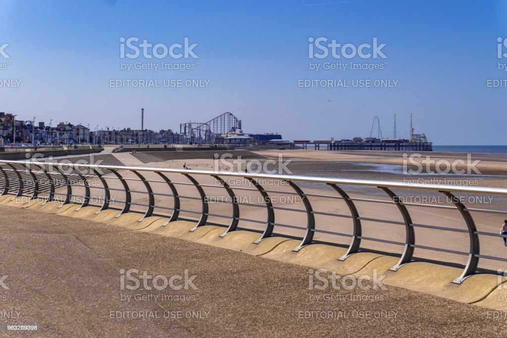 Blackpool beach from the promenade stock photo