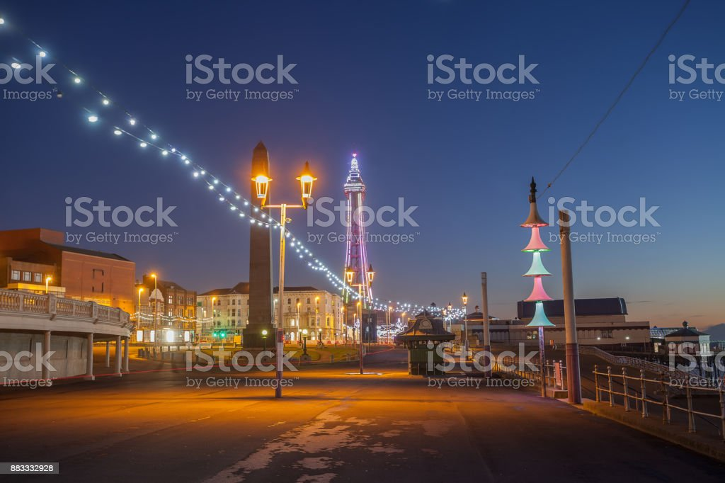 Blackpool blue hour view. stock photo