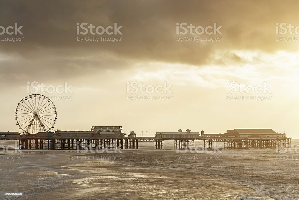 Blackpool Central Pier at Sunset stock photo