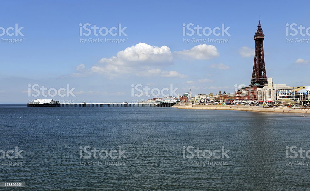 Blackpool North Pier and Tower stock photo