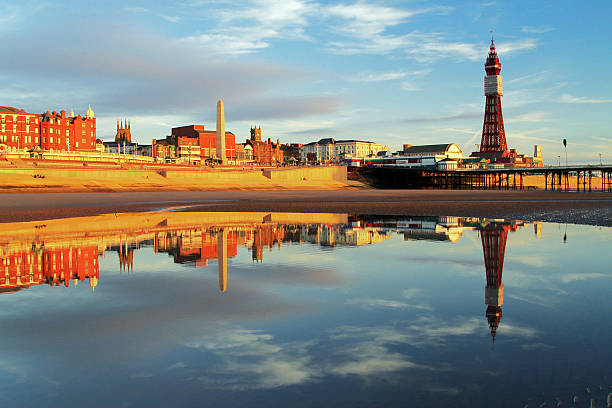 Blackpool North Pier Reflection stock photo