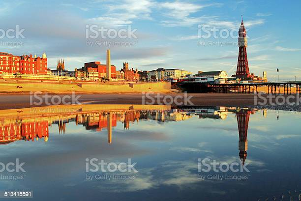 Blackpool North Pier Reflection Stock Photo - Download Image Now