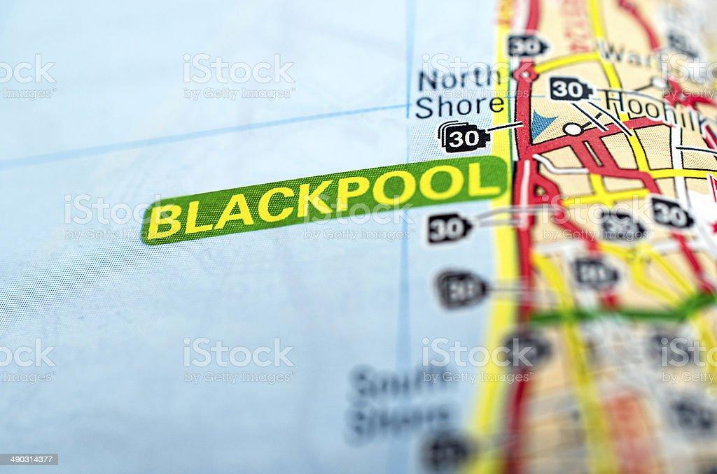 Blackpool on map stock photo