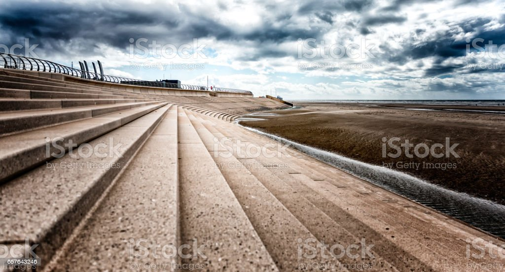 Blackpool sea-wall stock photo