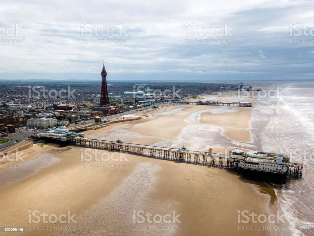 Blackpool skyline view overlooking the beach and town stock photo