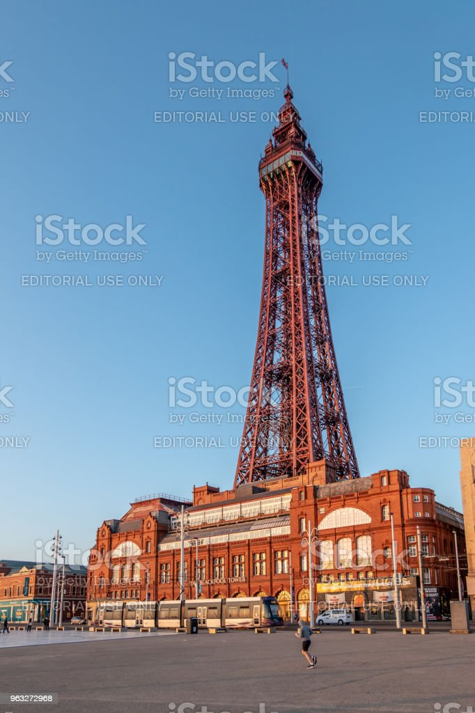 Blackpool Tower and Entrance plaza stock photo