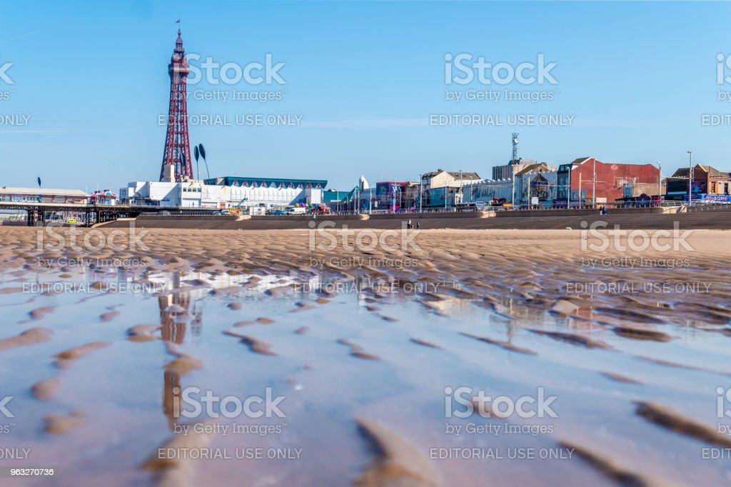 Blackpool Tower and town from the beach stock photo