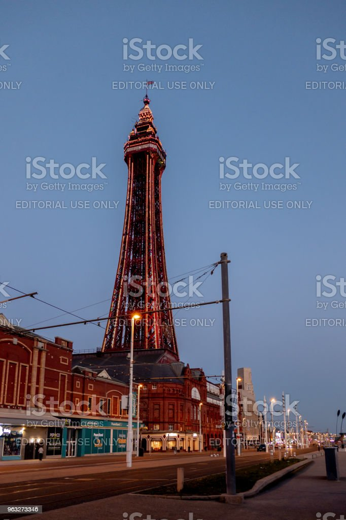 Blackpool Tower at dusk stock photo