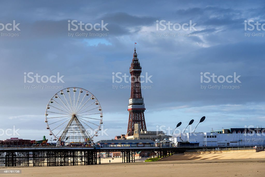 Blackpool Tower & Ferris Wheel stock photo