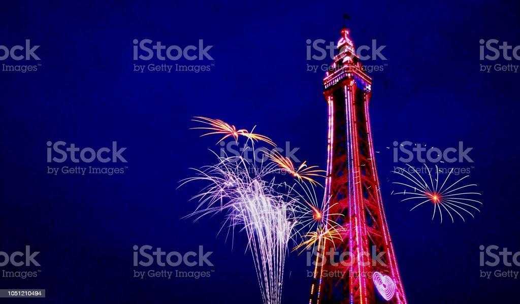 Blackpool  Tower  Fireworks stock photo