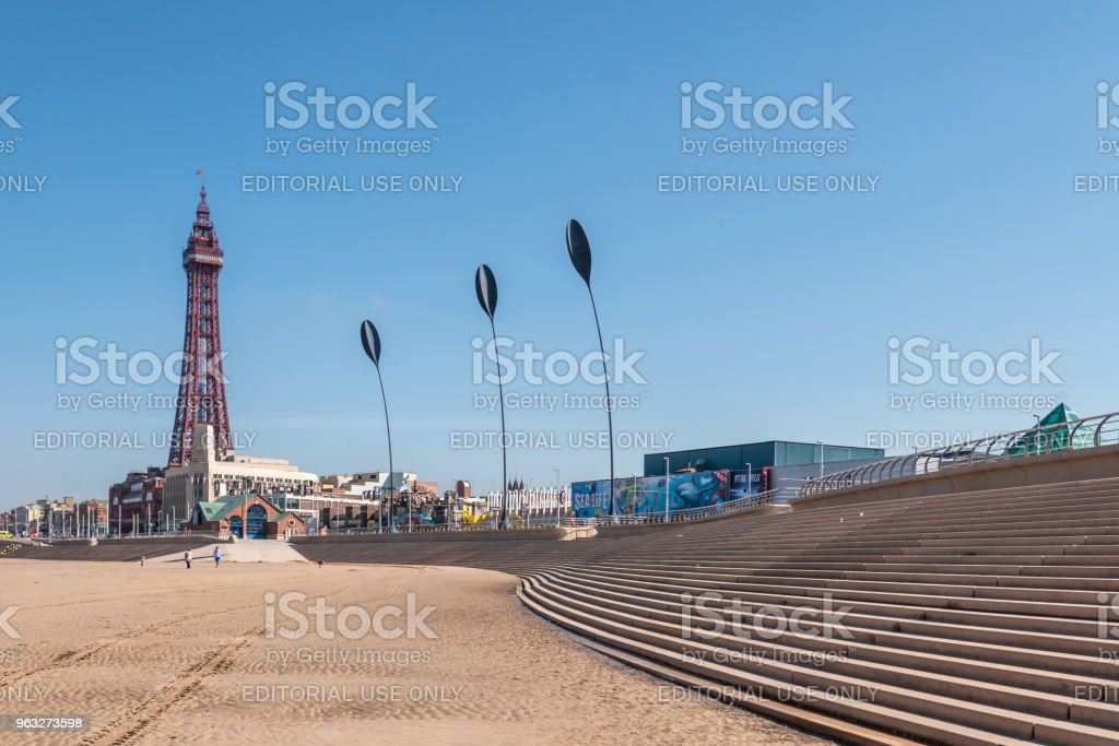 Blackpool Tower on the seafront in Blackpool stock photo