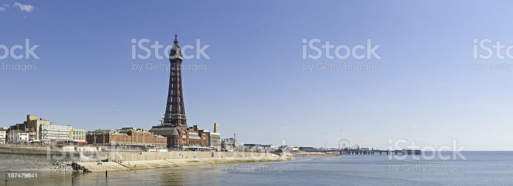 Blackpool Tower promenade panorama UK stock photo