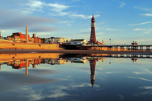 Blackpool Tower Reflection stock photo