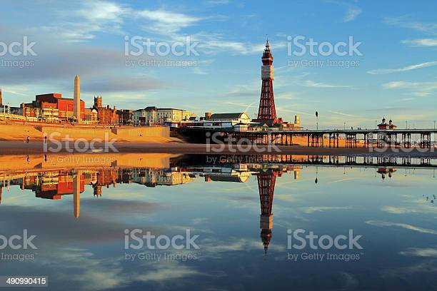 Blackpool Tower Reflection Stock Photo - Download Image Now