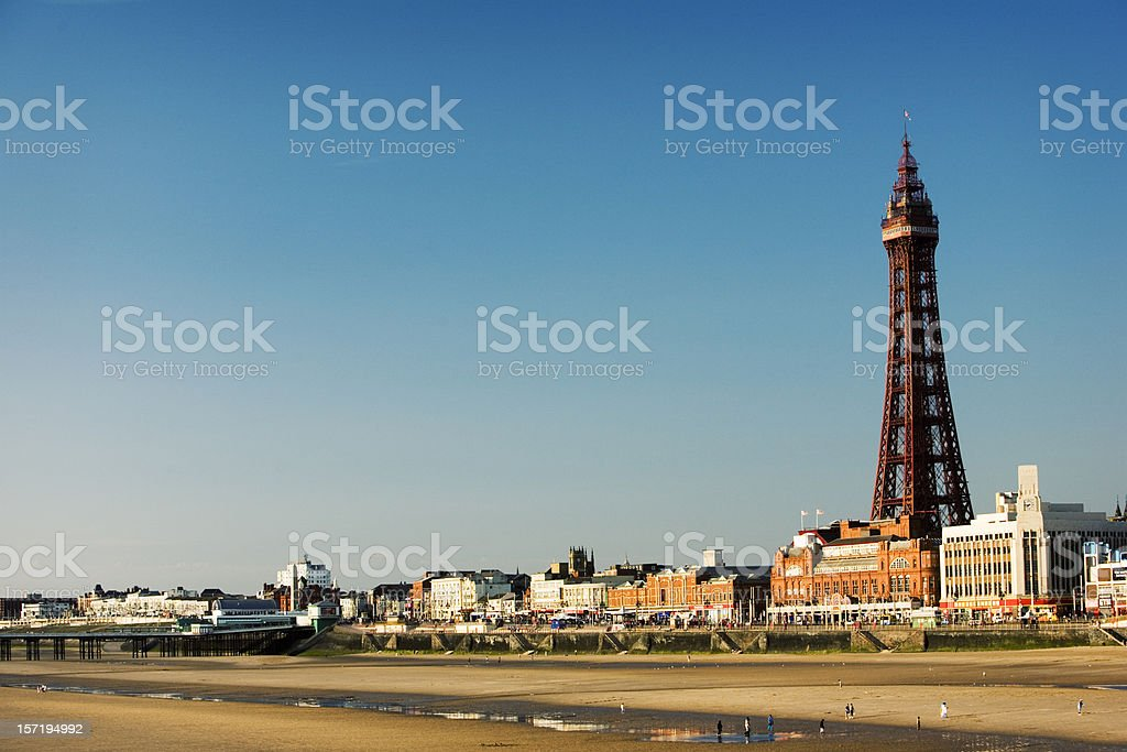 Blackpool Tower. the promenade and the sandy beach, Lancashire, UK stock photo