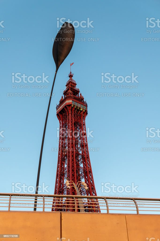 Blackpool Tower with street sculpture detail stock photo