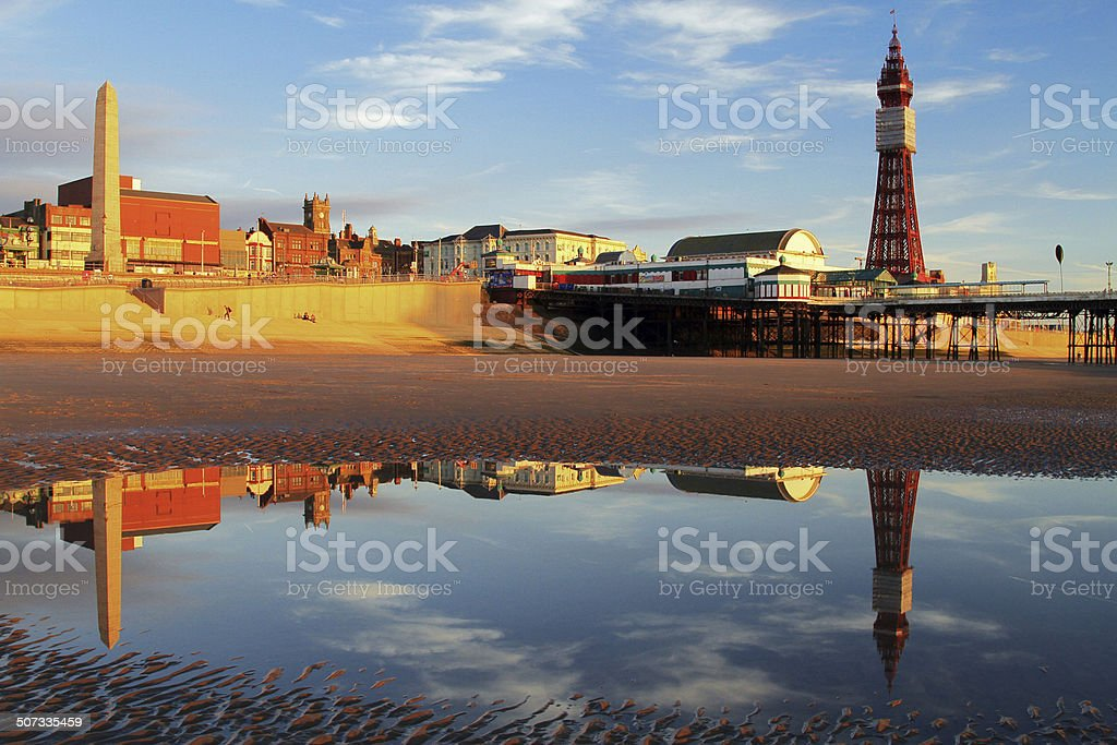 Blackpool Waterfront Reflection stock photo