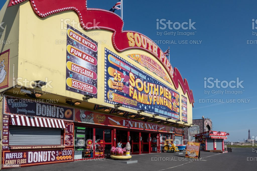 Blackpool's South Pier on the Promenade stock photo