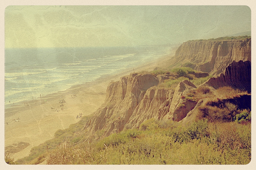 Retro-styled postcard of Black's Beach in Torrey Pines State Park -- a beautiful (nude) beach outside of San Diego. All artwork is my own.