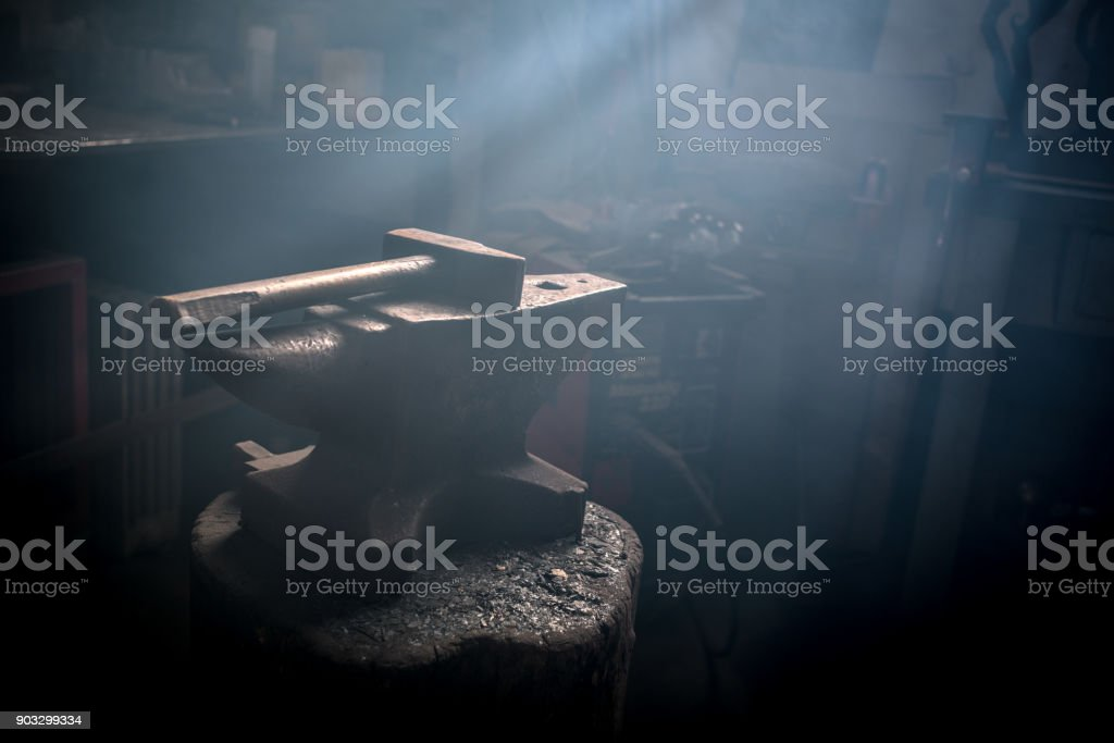 Blacksmith artist smithy studio laboratory stock photo