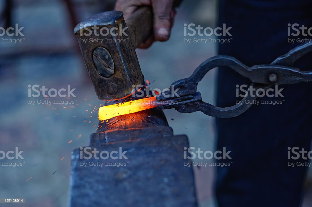 blacksmith at work stock photo